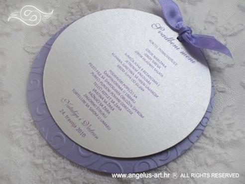 menu za svadbenu svečanost okrugli s ljubičastom mašnom