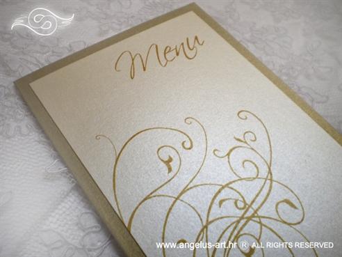 menu za vjenčanje krem zlatni s tiskom