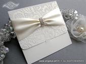 Wedding invitation - Flocked Cream New Classic