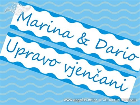 morska auto tablica za vjencanje s imenima mladenaca