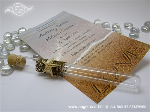 morska pozivnica za vjenčanje u epruveti sa zvijezdom