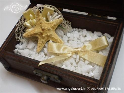 morska škrinjica za vjenčano prstenje s morskom zvijezdom