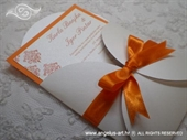 Pozivnica za vjenčanje Orange Damask Mini Beauty