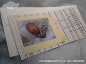 Obavijest o rođenju s fotografijom i prugama u pastelnim bojama - Obavijest 5