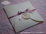 okrugla pozivnica za vjenčanje sa rozom satenskom mašnicom