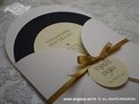okrugla pozivnica za vjenčanje sa zlatnom mašnicom
