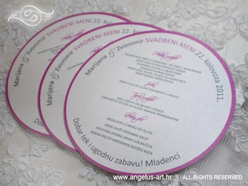 okrugli menu za svadbenu svečanost ciklama ili fuksija