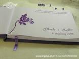 personalizacija ljubičaste knjige dojmova s ljubičastom ružom