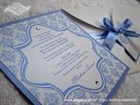 plava damask pozivnica u bijeloj omotnici na rasklapanje
