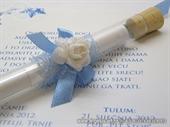 Pozivnica za vjenčanje Plava epruveta s ružom