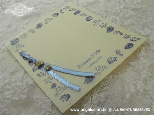 plava morska zahvalnica za vjenčanje sa školjkama
