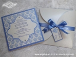 plava pozivnica s plavom mašnom i tiskom