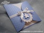 blue birthday invitation with white bear