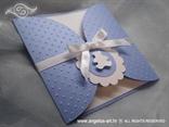 plava pozivnica za djecji rodendan s malim bijelim medom