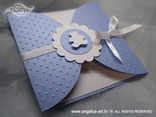 blue baptism invitation with white bear