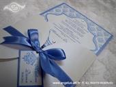 Pozivnica za vjenčanje Blue Damask Beauty