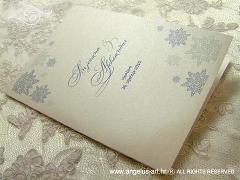 plava zimska zahvalnica za vjenčanje s pahuljama