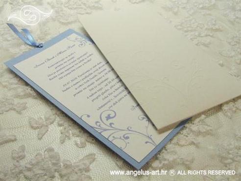 plavo bijela pozivnica za vjenčanje na izvlačenje