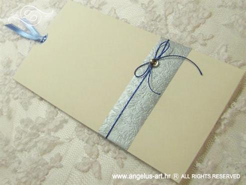 plavo krem pozivnica za vjenčanje na izvlačenje s trakom