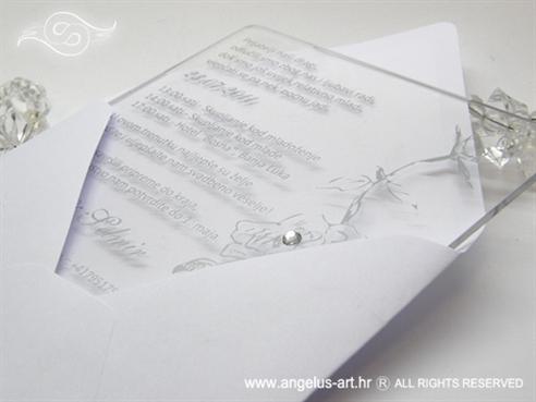 plexy bijelo srebrna pozivnica za vjenčanje s cirkonom