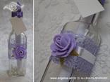 poruka u boci ljubičasta pozivnica s ružom