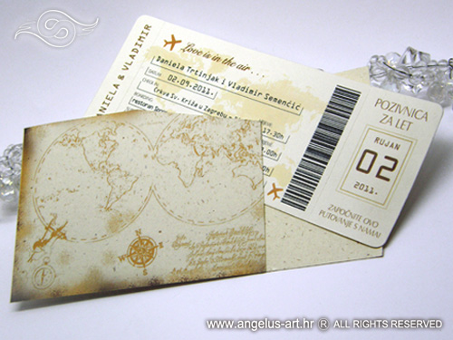 avijonska karta Airline ticket as a wedding invitation   Angelus Art avijonska karta