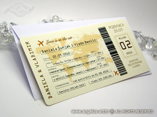 gornji dragonožec karta Airline ticket as a wedding invitation   Angelus Art gornji dragonožec karta