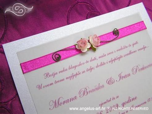 pozivnica ružičasta s ružom
