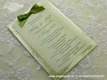 pozivnica sa zelenom mašnom i zelenim tekstom