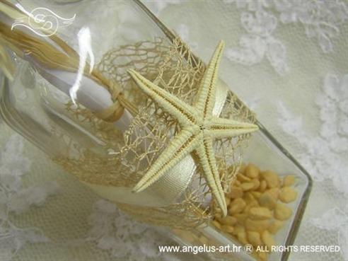 pozivnica u boci krem bež s morskom zvijezdom