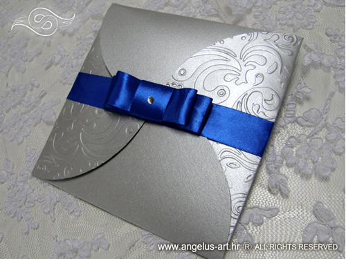 Wedding Invitation Blue Silver Beauty Angelus Art Vjenčanja