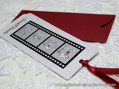 pozivnica u uskom etuiju bookmark crvena