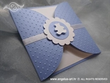 birthday invitation in a blue envelope with embossing pattern