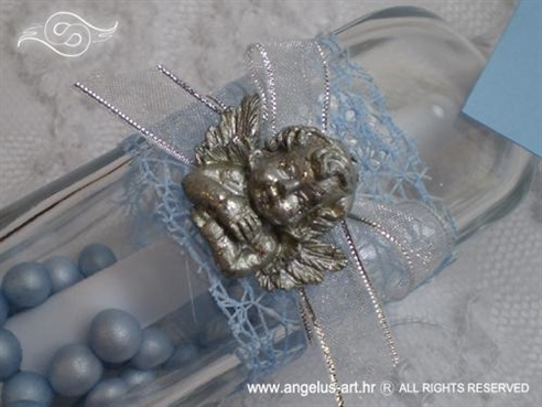 pozivnica za krstenje u staklenoj boci sa srebrnim andelom
