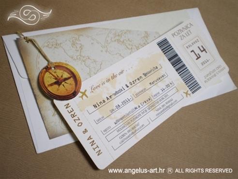 pozivnica za vjenčanje avionska karta