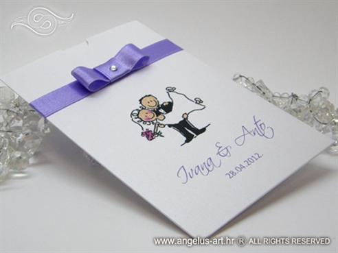 pozivnica za vjenčanje bijela s ljubičastom mašnom i cirkonom
