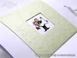 pozivnica za vjenčanje bijelo zelena s karikaturom