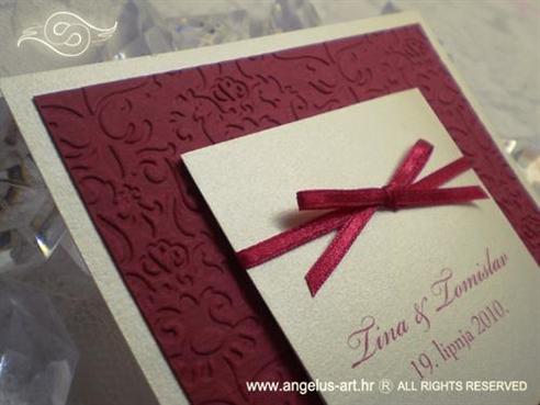 pozivnica za vjenčanje bordo crvena s mašnom i blindruckom