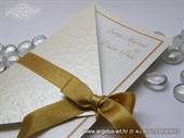 Pozivnica za vjenčanje Cream & Gold Letter