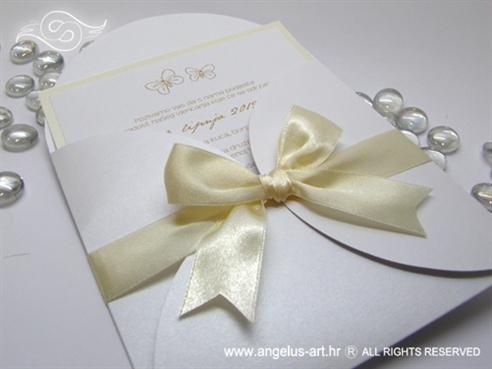 pozivnica za vjenčanje krem bijela s leptirima