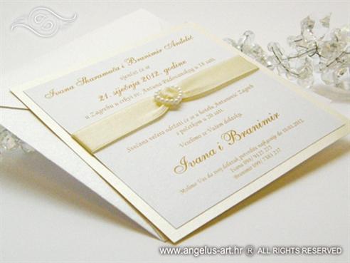 pozivnica za vjenčanje krem bijela sa srcem