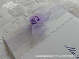 pozivnica za vjenčanje lila organdij mašnica i ružica detalj