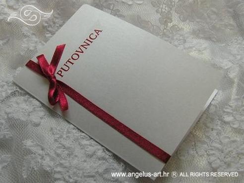 pozivnica za vjenčanje putovnica s crvenom mašnom