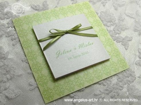 pozivnica za vjenčanje travnato zelena s ornamentima
