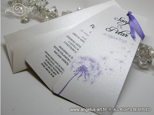 wedding invitation - dandelion bookmark