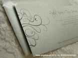 pozivnica za vjenčanje u srebrnoj boji s cirkonom