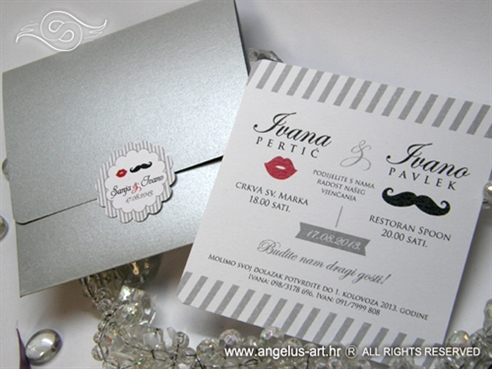 pozivnica za vjencanje u srebrnoj omotnici s motivima brkova i usana 5606