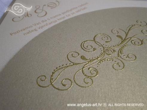 pozivnica za vjenčanje zlatna u obliku dijamanta s 3D uzorkom