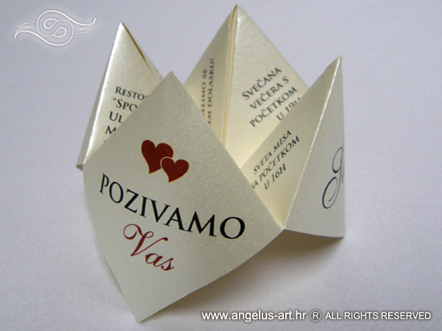 Wedding Invitation Origami Fortune Teller Angelus Art