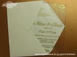 prozirna zlatna pozivnica za vjenčanje s tiskom